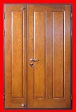 стальная двухстворчатая дверь с отделкой порошковым напылением